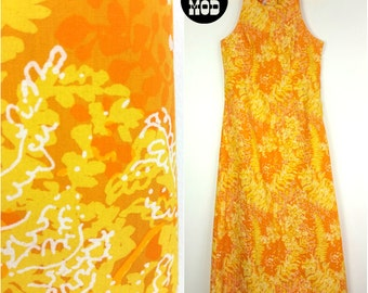 Never Worn Vintage 60s 70s Orange and Yellow Floral Pattern Halter Style Maxi Dress!