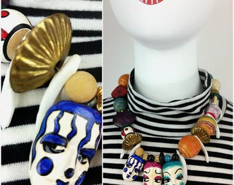 Crazy Unique Vintage French Mime Clowns Mardi Gras Vibe Pastel Beaded Ceramic, Wood and Shell Statement Necklace