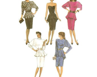 80s Strapless Cocktail Dress or Batwing Sleeve Dress Pattern Simplicity 8231 Sz. 8 10 12 XS