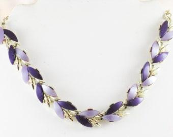 Vintage Purple Thermoset Leaf Necklace (N-2-1)
