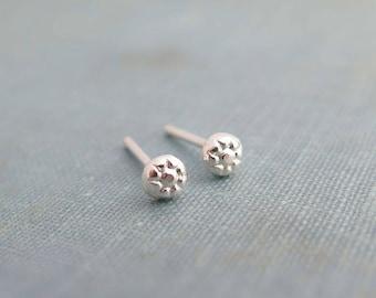 Tiny wedding studs, Small flower stud earrings sterling silver, Tiny flower stud earrings, Tiny sterling posts, Botanical studs,