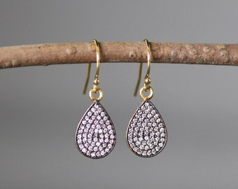 Pave Earrings - White Topaz Earrings - Gold Pave Jewelry - Evening Jewelry - Special Occasion Jewelry - Bridal Jewelry - Sparkling Earrings