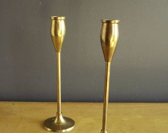Brass Candle Stick Pair - Set of Two Vintage Brass Candle Holder - 8.75 inch Tall Brass Candlesticks - Tulip Shaped Tops