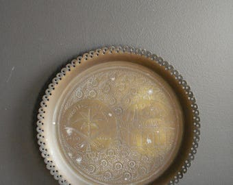 Brass Tray - Round Punched Pattern Brass Tray - Engraved Brass Tray Saudi Arabia