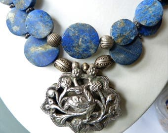 Antique Chinese Silver Bird Pendant and Natural Untreated Afghan Lapis Lazuli Double Strand Necklace, Statement Necklace, Unique