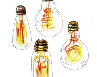 minimalist watercolor print: Lightbulbs