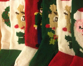 Christmas Stockings Set Of Six, Personalized Knit Stockings, Personalized Set Christmas Stockings,