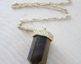 Long Gold Plated Tiger Eye Crystal Pendant Necklace