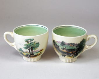 2 Vintage Tea Cups Clarice Cliff Newport Potters Of England Demitasse Cups Pastoral Scenes Sheepdog Woman With Geese 1940s 1950s