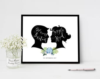 Floral Wedding Welcome Sign Custom Silhouette Personalized Wedding Sign Reception Guest Book Poster Hydrangea Couple Cameo Vintage Wedding