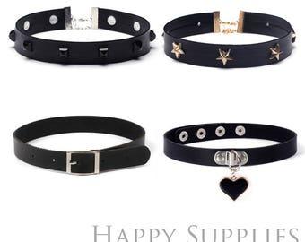 Set of 4 Black Punk Style Faux Leather Choker Jewelry / Necklace Choker (JLC06)