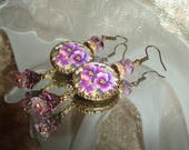 Vintage purple pansy image bead charm cabochon earrings Sacred Jewelry Pamelia Designs