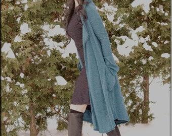 Jacket - Cardigan Sweater - Wrap Around Cardigan - Hoodie Long Sweater - Open Jacket - Blue Sweater - Bohemian - Turquoise Knit - Size Large