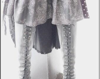 SALE - Skirt - Steampunk - Burning Man - Playa Wear - Knee Length - Denim Blue and Silver - Bohemian Gypsy - Victorian Gypsy - Size Medium