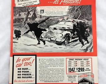 1947 Prestone Oil Ad. Car Advertisement. Gear Head. Garage, Shop, Man Cave Decor. Retro Automobile Ad. Red White and Black Printing.