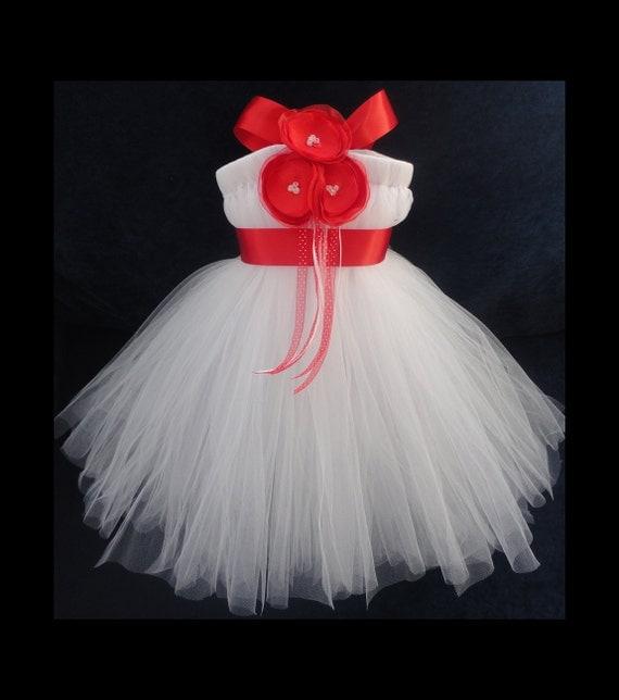 Red Flower Girl Dress, Little Girls, Toddler Girls, Baby Girls, Flowergirl Dress, Tutu Dress, Flower Sash