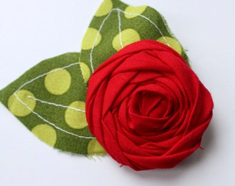 Holiday Headband Hairclip- Red Flower - (Made to Order) - Photo Prop - Wedding - Christmas Holiday