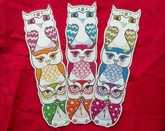 3 Multicolor Owl Bookmarks, Illustrated Bookmarks, Unique