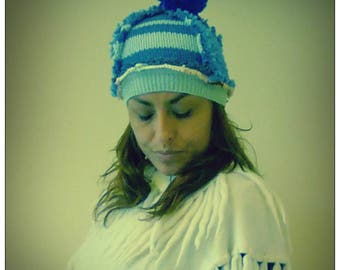 Upcycled Blue Wool Bobble Beanie Hat                            ReMade in England UK