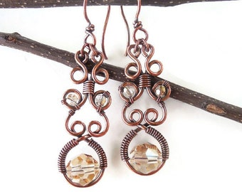 Wire wrapped earrings, crystal earrings, wire wrapped jewelry, magical jewelry, gypsy earrings, wire jewelry, gypsy jewelry