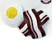 Bacon & Eggs Rhinestone Nipple Pasties - SugarKitty Couture