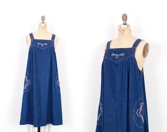 Vintage 1970s Dress / 70s Embroidered Denim Overalls Dress / Blue ( S M )