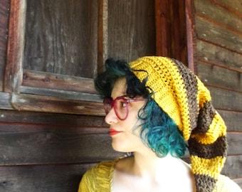 Long Stripe Cap - Made to Order - Crochet - Custom Color