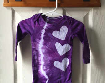 Tie Dye Baby Bodysuit, Purple Baby Bodysuit, Purple Hearts Baby Bodysuit, Purple Baby Girl Gift, Purple Baby Shower Gift (12 months)