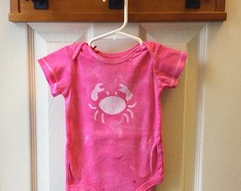 Crab Baby Bodysuit, Pink Crab Baby Bodysuit, Maryland Crab Baby Gift, Baby Girl Crab Bodysuit, Pink Crab Bodysuit (12 months)