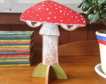 Hand painted wooden sculpture -- Red Fly Agaric Mushroom with Eyes
