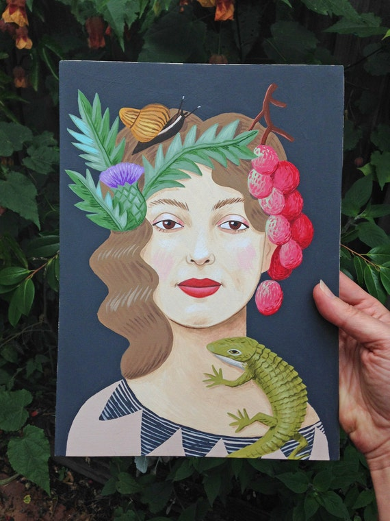 Original painting: Lady with a Lizard