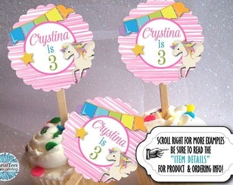 12 Cupcake Picks, Cupcake Topper Decorations, Unicorn, Rainbow Pastel Colors, Pink Stripes, Birthday Party, Baby Shower