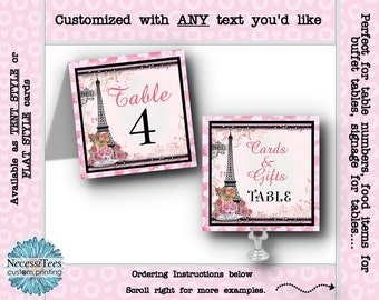 Table Number Cards, Table Signs, Wedding, Rehearsal Dinner, Bridal Shower, Birthday, Paris Eiffel Tower, French, Paris, Roses, Pink & Black