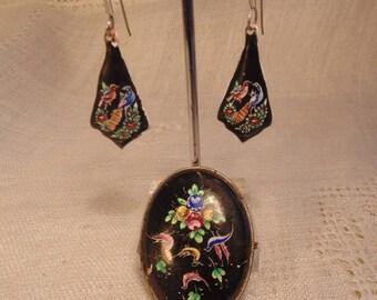 Vintage Enamel Bird Brooch and Bird Earrings Set Black Enamel India Jewelry Vintage Black Floral Brooch Enamel Jewelry