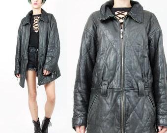 25% OFF SALE 80s 90s Black Leather Biker Jacket Quilted Black Leather Jacket Zip Up Womens Winter Vintage Winter Soft Leather Coat (M/L)