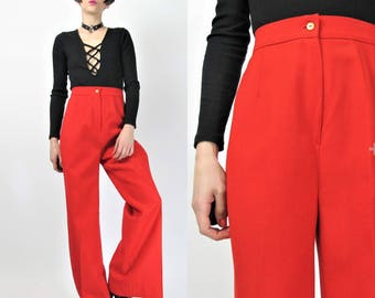 1970s Palazzo Pants Bright Red Pants High Waisted Pants Wide Leg Pants Womens Wool Trousers Deadstock 70s Bell Bottoms (S) E2087