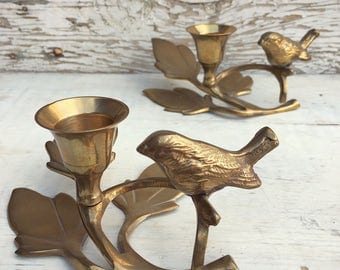 Pair of vintage brass candle holders leaf and bird, table setting decor, brass decor, home decor, brass vintage, songbird candlestick holder
