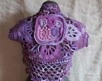 Ready to ship Boho Chic Multicolor Freeform  Crochet Vest  Shrug Bolero,  cover up , Summer  Fashion - Luxury - Size S-M, Gypsy vest