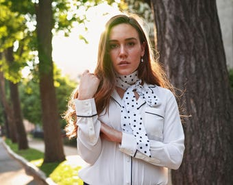 NEW Unique and simple neck tie/can be worn many different ways/Polka dot/Bow scarf/Bow choker/Bow back/Neck wrap/Bow waist/Bow belt