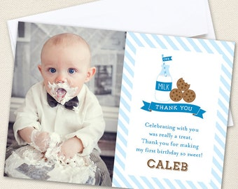 Milk and Cookies Party Photo Thank You Cards - Professionally printed *or* DIY printable