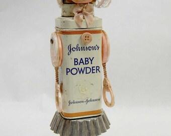 Assemblage Art Doll Vintage Baby Powder Infant