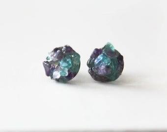 Gemstone Studs / Apatite and Amethyst Studs/Semi precious Gemstone Stud Earrings / Raw Crystal Earrings/ Nickel Free Studs