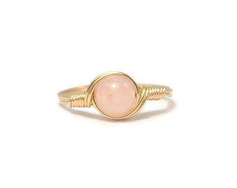 Morganite Pink Beryl Ring,  Stone Ring, 14k Yellow Gold Fill Ring, Wire Wrapped Ring
