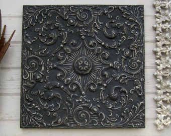 "Tin Ceiling Tile 24"" Framed. Antique architectural salvage. Black metal wall art."