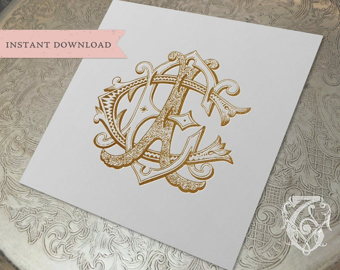 3 Initial Vintage Monogram ECA CEA AEC Three Letter Wedding Monogram Digital Download E C A