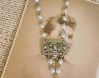 Assemblage Vintage Eiffel Tower Paris France Rhinestone Pearl Recycled OOAK Necklace