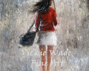 Lady in Red Art Print, pretty woman, walking in rain, red black gray wall art, sexy lady, umbrellas, red sweater day, Vickie Wade Art