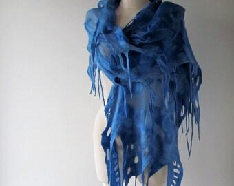 Silk Felted scarf Blue felt scarf Blue stole Blue nuno felted scarf Silk Wool shawl  felted shawl women silk scarf  by Galafilc