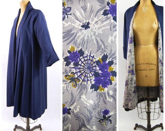 1950s Royal Blue Novelty Print Swing Coat // Spiderwebs // Linen Look Rayon // Early 1950s // Cuffed Sleeves Lavender purple Blue