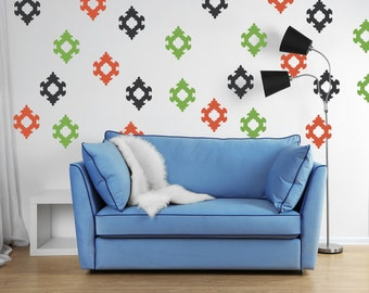 Damask Wall Decal, Geometric Wall Decal, Mid Century Decor, Victorian Wall Decals, Nursery Wall Decals, Apartment Decor, House Warming Gifts